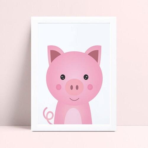 Quadros Quadros Decorativos Infantil porco rosa