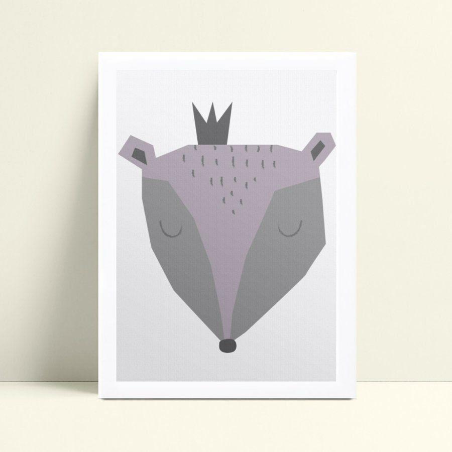 Quadros Quadros Decorativos Infantil rosto raposa cinza