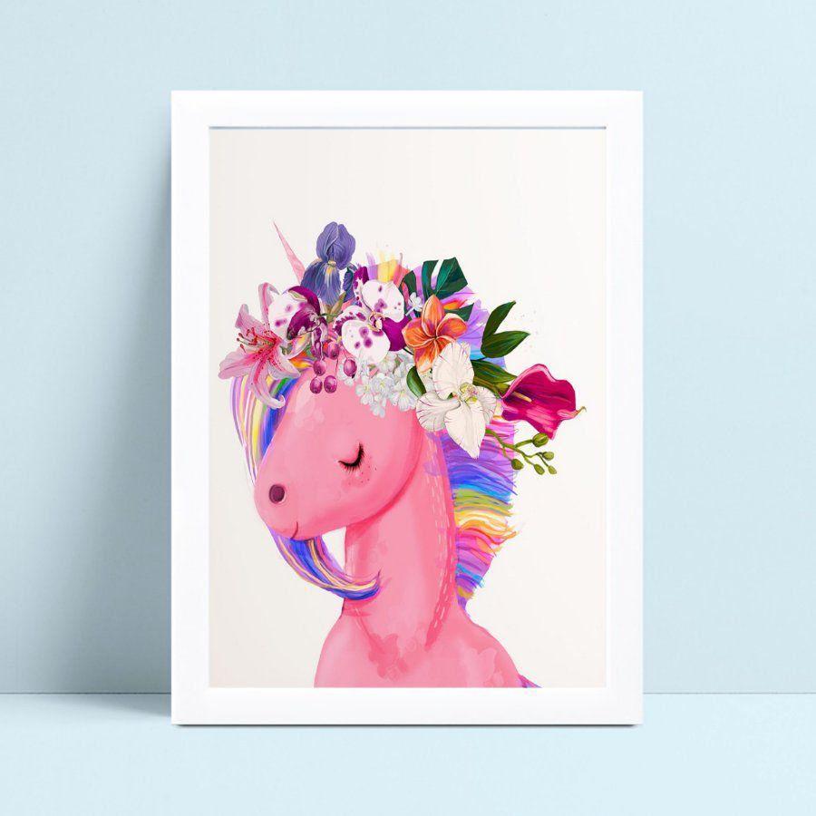 Quadros Quadros Decorativos Infantil unicórnio arco floral