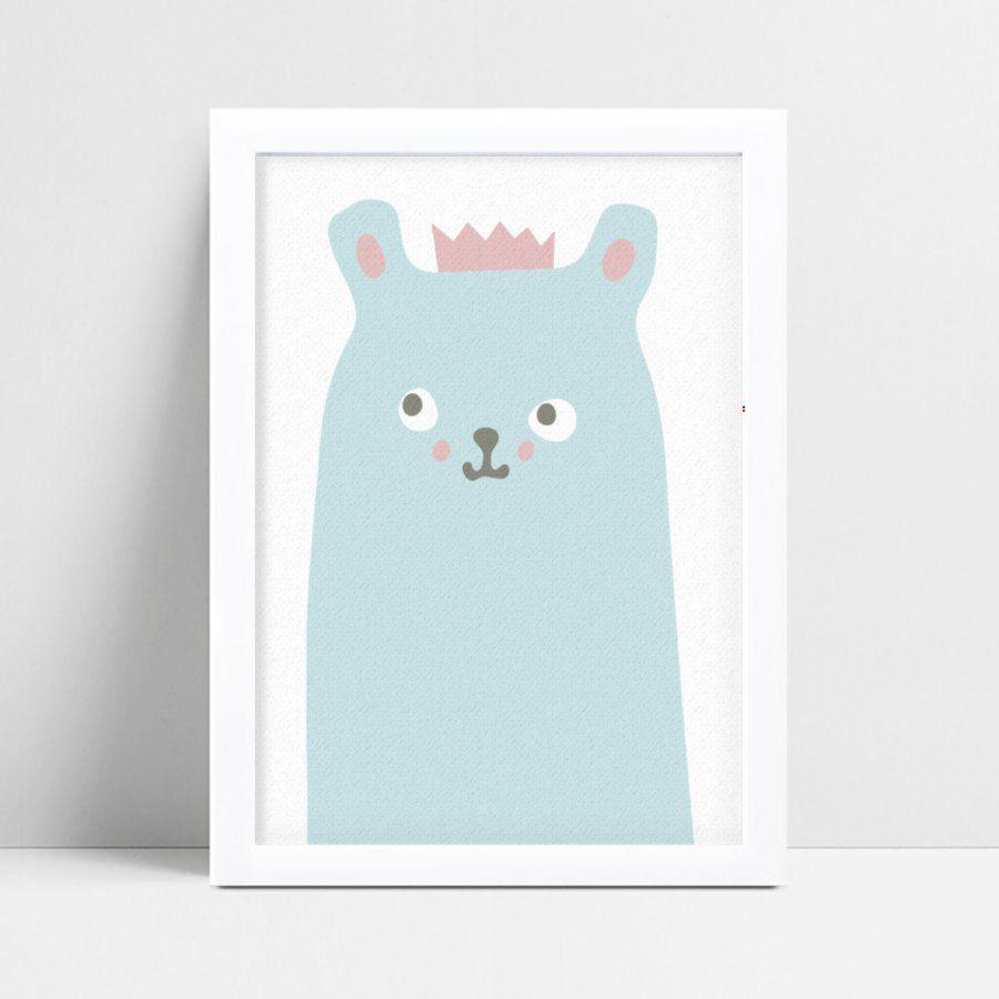Quadros Quadros Decorativos Infantil urso azul coroa rosa