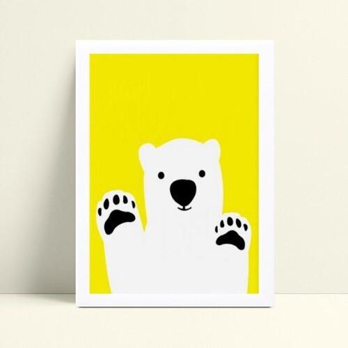 Quadros Quadros Decorativos Infantil urso branco e amarelo
