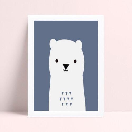 Quadros Quadros Decorativos Infantil urso branco e azul