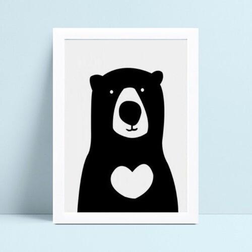 Quadros Quadros Decorativos Infantil urso p&b