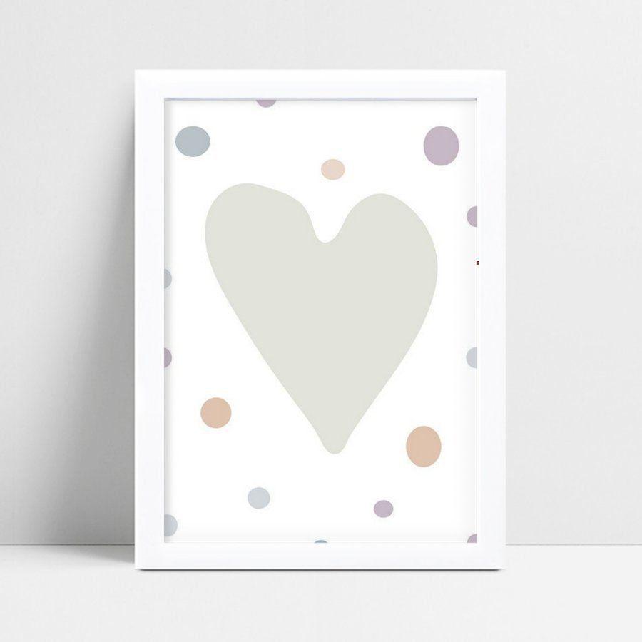Quadros Quadros Infantil coração cinza grande bolinhas color