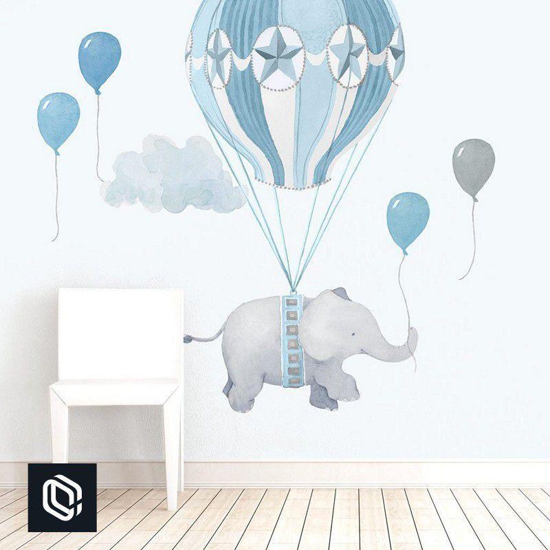 Quarto de bebê adesivo parede decoração elefante balão azul