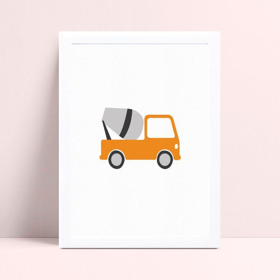 Quarto infantil decoração menino caminhão cimento laranja
