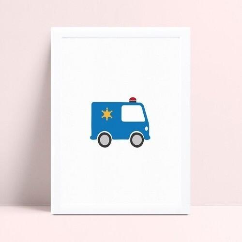 Quarto infantil decoração menino carro polícia azul
