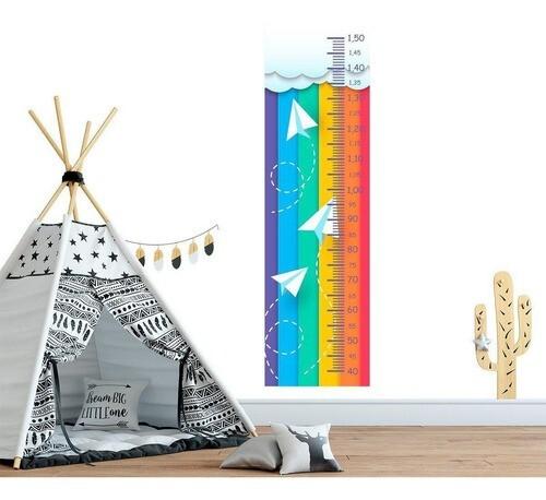 Régua Crescimento Adesivo aviões de papel fundo colorido RC009