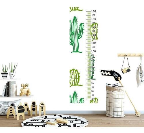 Régua Crescimento Adesivo cactos variados verdes RC029