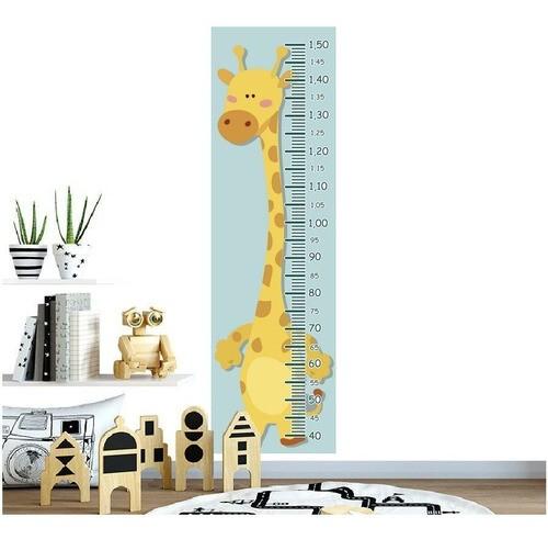 Régua Crescimento Adesivo girafa amarela bolinhas laranja