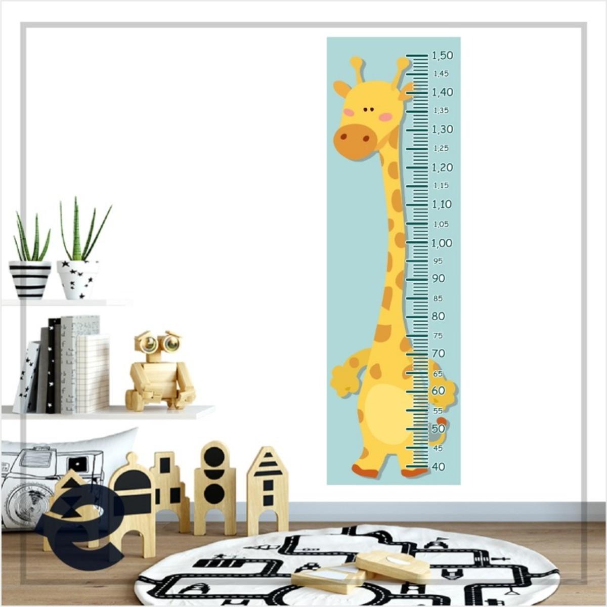 Régua Crescimento Adesivo girafa amarela bolinhas laranja RC059