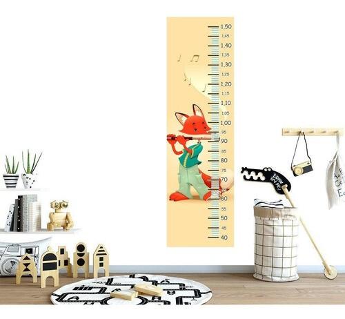 Régua Crescimento Adesivo Raposa Flauta RC237