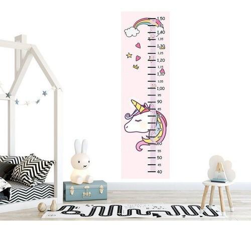 Régua Crescimento Adesivo unicornio crina colorida RC083