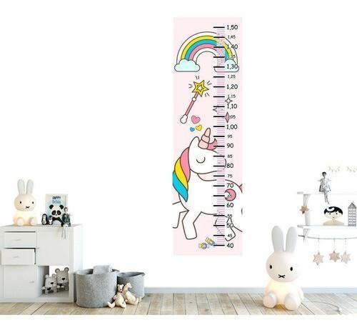 Régua Crescimento Adesivo unicornio varinha condão arco iris RC087