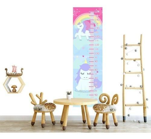 Régua Crescimento Adesivo unicornios branco crina lilás RC088