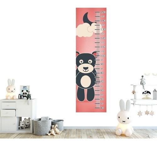 Régua Crescimento Adesivo ursinho preto fundo rosa RC095