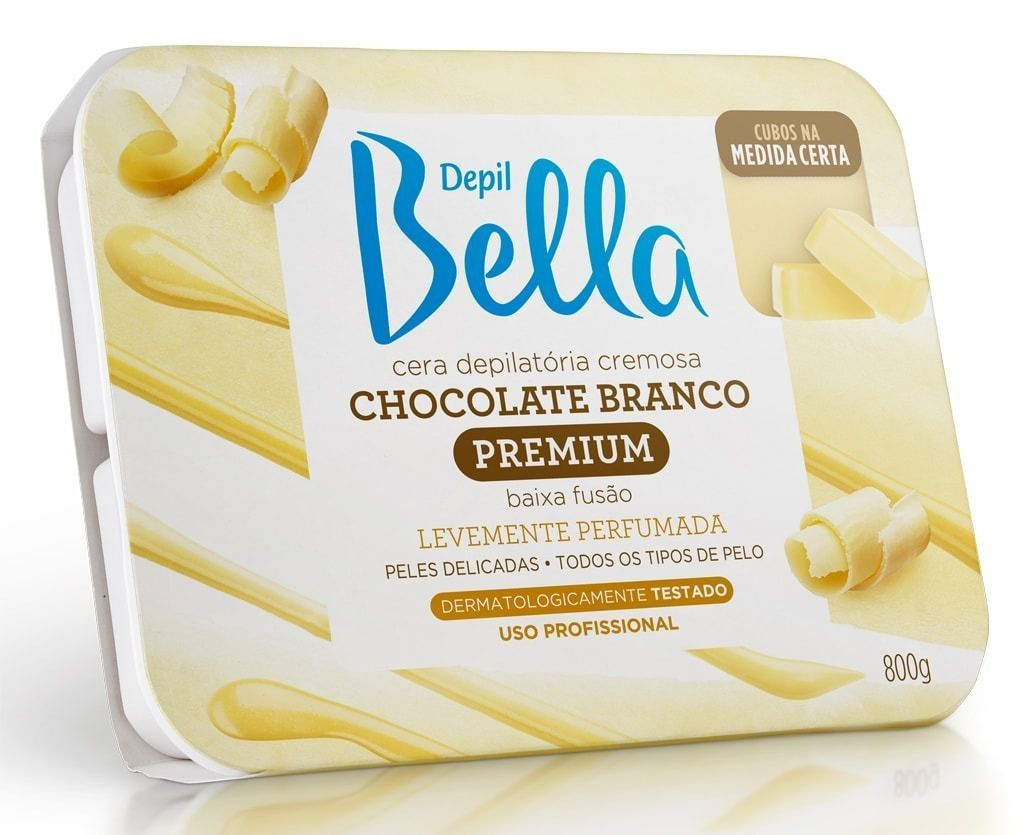Cera Depilatória Quente  Cremosa Chocolate Branco 800g - Depil Bell