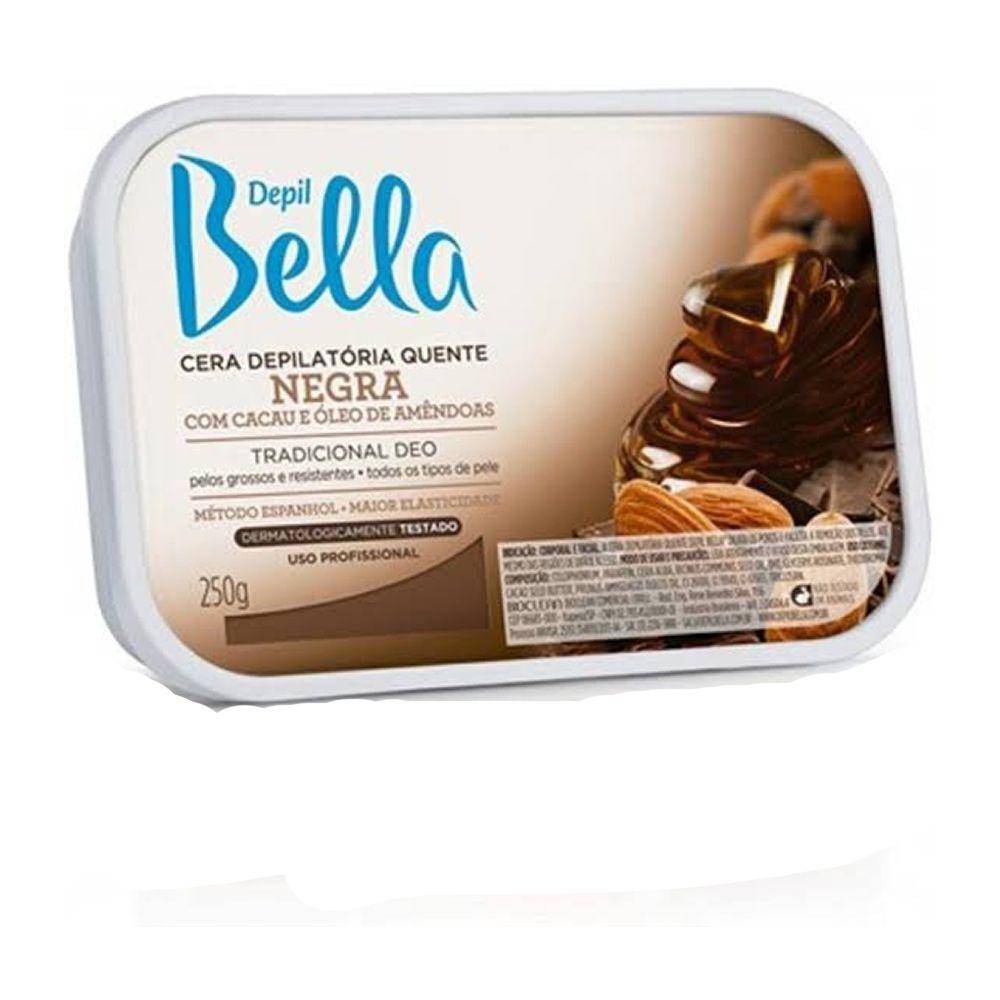 Cera Depilatória negra com cacau e óleos de amêndoas 250g - Depil Bella