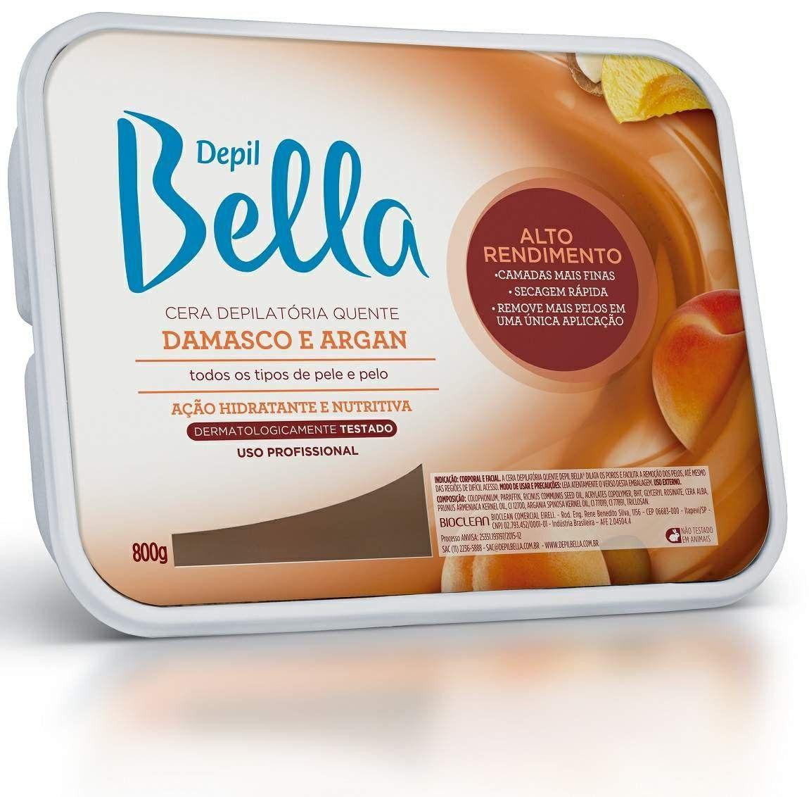 Cera depilatória oleo de argán 800g - Depil Bella