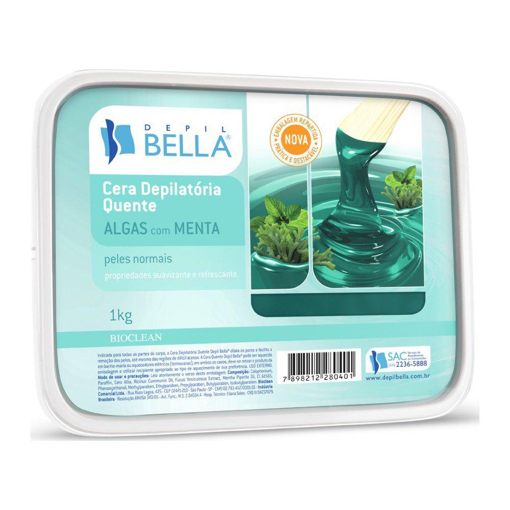 Cera Depilatória Quente Algas com Menta 1KG - Depil Bella