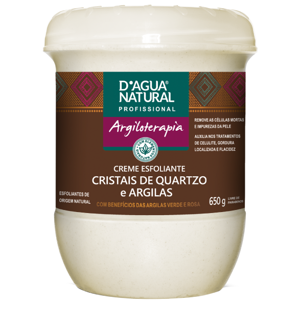 Creme esfoliante Cristais de Quartzo e Argila - D'Agua Natural