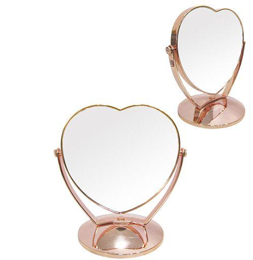 Espelho de Mesa Coração Dupla Face com Pedestal de Plástico Metalizado Rose Gold