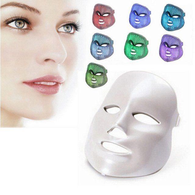 Máscara LED Facial 7 Cores Tratamento Estético Fototerapia c/ Pescoço