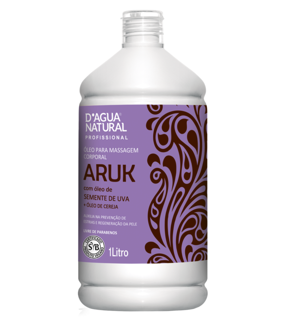 Óleo para massagem Corporal Aruk Semente de Uva e Cereja 1L - D'água Natural