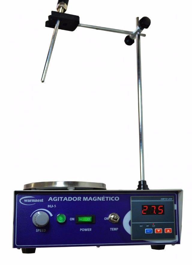 AGITADOR MAGNÉTICO COM AQUECIMENTO VELOCIDADE 2400RPM AGITA ATÉ 4 LITROS WARMNEST HJ-4