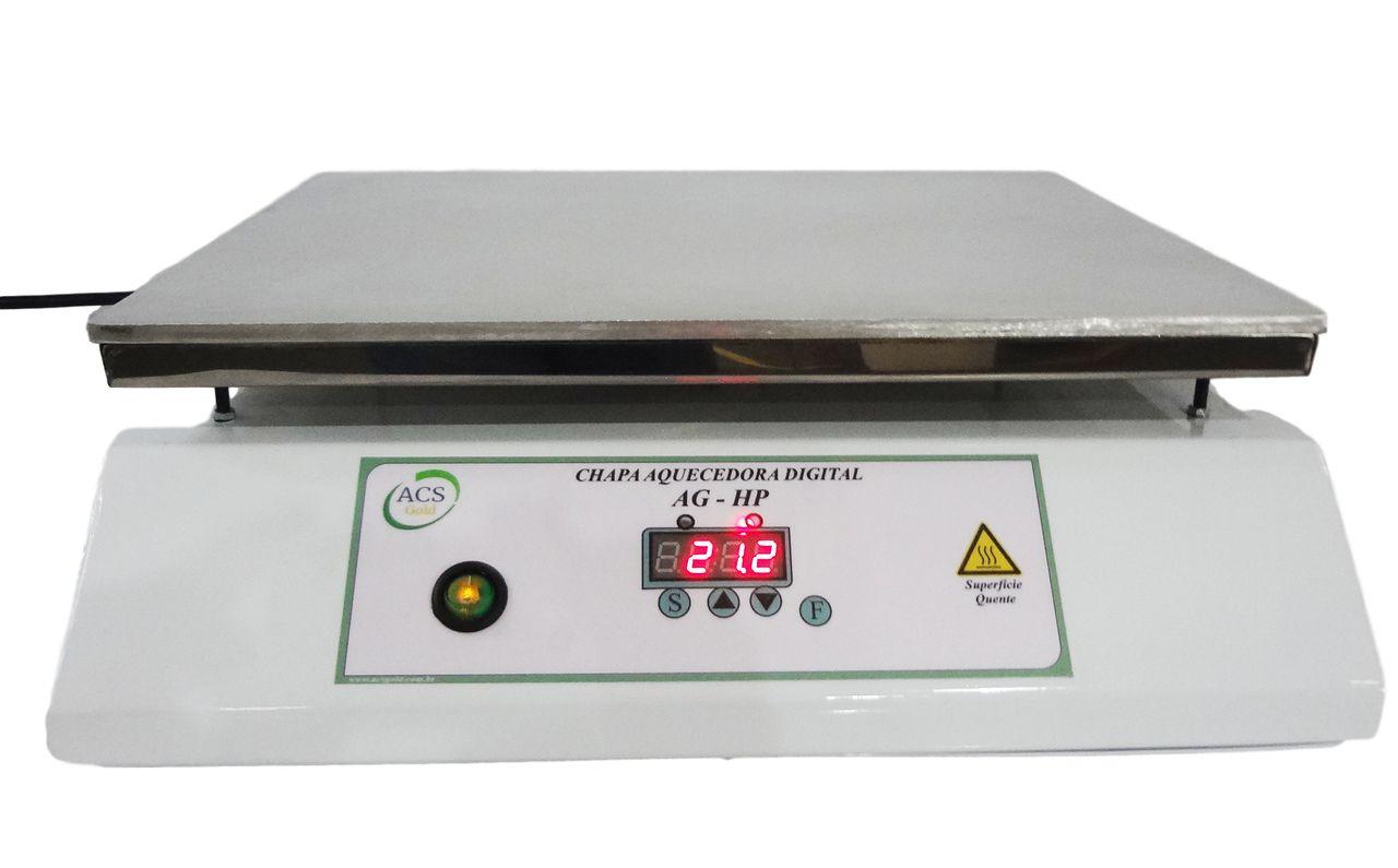 CHAPA AQUECEDORA DIGITAL PLATAFORMA EM INOX 300X400MM TEMPERATURA ATÉ 350°C 220V