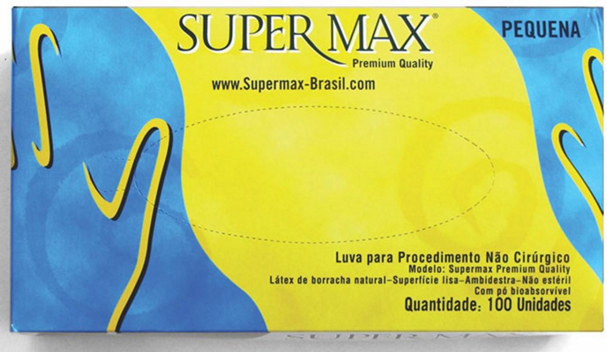 LUVA EM LÁTEX COM PÓ PARA PROCEDIMENTOS NÃO CIRÚRGICOS - PACOTE COM 100 UNIDADES SUPERMAX