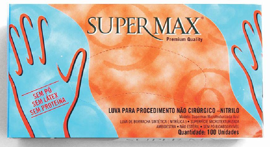 LUVA EM NITRILO SEM PÓ PARA PROCEDIMENTOS NÃO CIRÚRGICOS - PACOTE COM 100 UNIDADES SUPERMAX