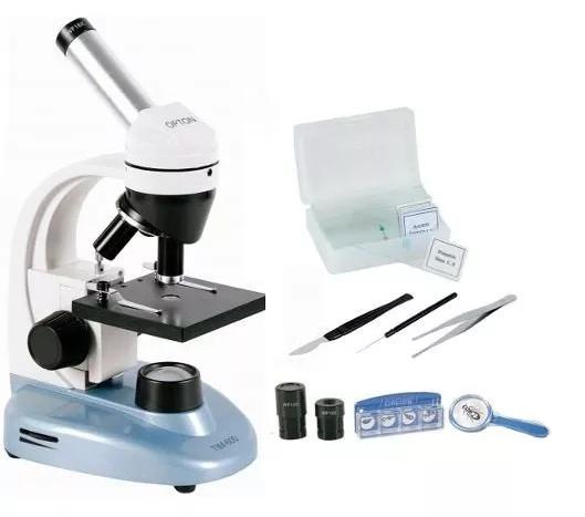 MICROSCÓPIO BIOLÓGICO MONOCULAR AUMENTO DE 40-640X ILUMINAÇÃO EM LED - ACOMPANHA KIT COM 6 LAMINAS PREPARADAS