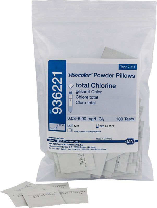 VISOCOLOR POWDER PILLOWS CLORO TOTAL 0,03-6,00MG/L PACOTE 100 SACHES 936221
