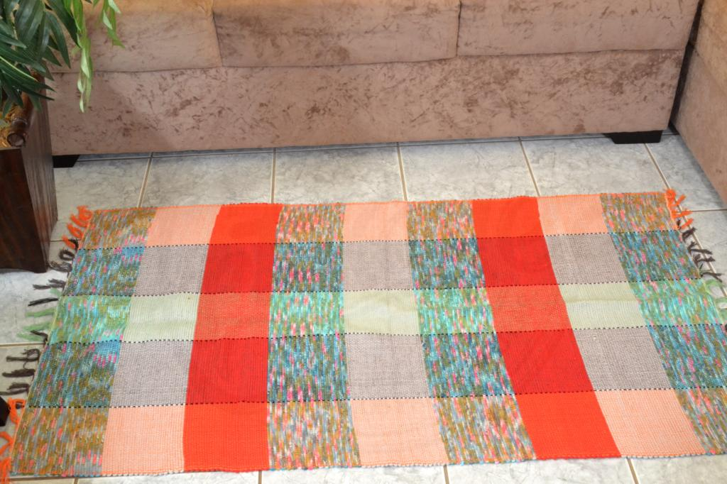 Tapete de Sala em Malha - Xadrez Colorido