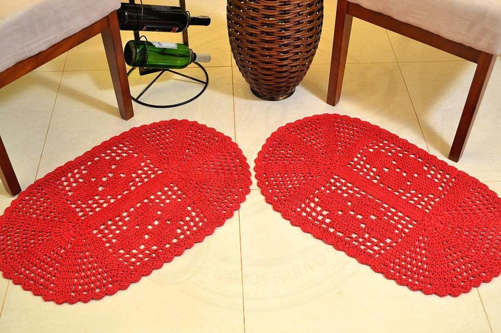 Par de Tapetes em Crochê Oval Liso - Vermelho