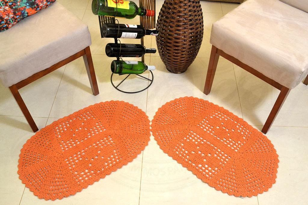 Par de Tapetes em Crochê Oval Liso - Laranja