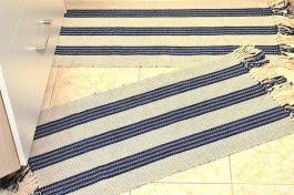 Par de Tapetes Retangular - Listras Azul