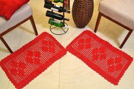 Par de Tapetes em Crochê Retangular Duo - Vermelho