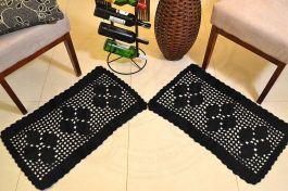 Par de Tapetes em Crochê Retangular Duo - Preto
