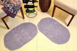 Par de Tapetes em Crochê Oval Liso - Lilás
