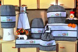 Jogo de Cozinha Ponto Cruz - Casinha em Tecido Xadrez Preto