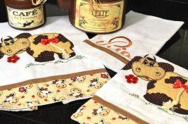 Kit de Cozinha Bordado Patchwork - Vaquinha com Lacinho