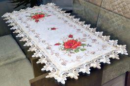 Caminho de Mesa com Flores Vermelhas - 0,90 m