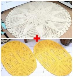 Combo Tapetão Redondo Crochê Cru + Par Tapetes Oval Amarelo