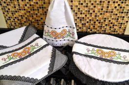 Itens para Cozinha Bordado Ponto Cruz - Girassol