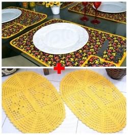Combo Jogo Americano 6 Pçs - Borboletas Amarelas+Par Tapetes Oval - Amarelo