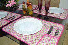Jogo Americano Matelado com 6 Peças - Florzinhas Rosa
