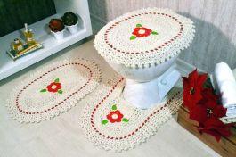 Jogo de Banheiro de Crochê Rojo