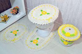 Jogo de Banheiro e Cestinho de Crochê Soleil
